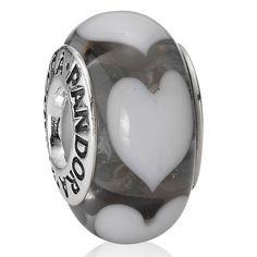 Pandora Ice Love White Hearts Murano Glass