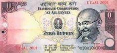 """インドで""""ゼロ""""ルピー紙幣が発行される"""