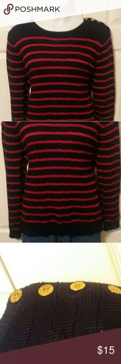 LRL Striped Sweater Lauren by Ralph Lauren red and black striped cable knit sweater with functional button detailing on the shoulder. Size 3X. Measurements upon request. Pairs great with jeans for fall. Ralph Lauren Sweaters Crew & Scoop Necks