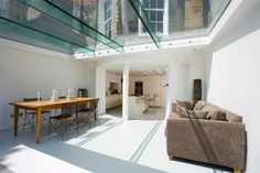 Trombé :: Contemporary Modern Conservatories and Conservatory Design London :: Structural Glazing Modern Conservatory, Glass Conservatory, Glass Ceiling, Glass Roof, Flat Roof Design, Glass Extension, Floating Staircase, House Extensions, Glass House