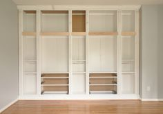 Building a custom built-in using IKEA hemnes collection shelves and drawers. Hemnes Bookcase, Ikea Billy Bookcase, Built In Bookcase, Bookshelves, Ikea Inspiration, Ikea Built In, Built In Storage, Office Furniture Design, White Furniture