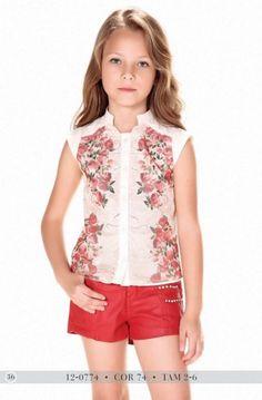 Blusa e shorts Jeans Infantil Diforini Moda infanto Juvenil 120774