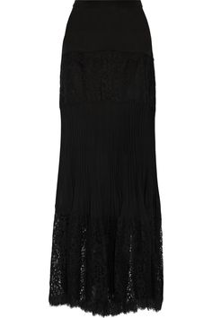 RACHEL ZOE Kate Cotton-Blend Lace And Silk Crepe De Chine Maxi Skirt. #rachelzoe #cloth #skirt