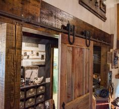 Rough and raw gliding barn wood door. Barnwood Doors, Barn Wood, Fireplace Mantels, Home Decor, Decoration Home, Room Decor, Fireplace Mantle Shelf, Mantels, Interior Decorating