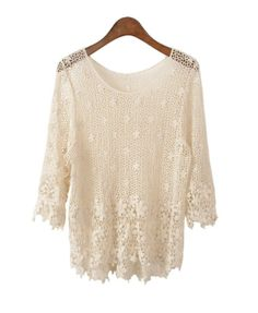 Retro Crochet Lace Jumpers with Flowers detail - Contact picture@chicnova.com directly once your pins goes viral! #romantic #cream #Spring 2014 #fashion #contest #relaxed