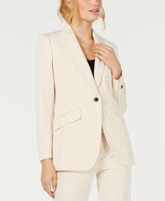 3bac91109ba Anne Klein One-Button Striped Jacket - Ivory Cream 14 Striped Jacket