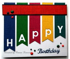 Funky birthday card using fishtail and memory box alphabet dies.