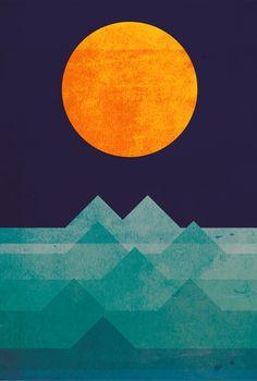 The ocean, the sea, the wave - night scene Art Print Budi Satria Kwan