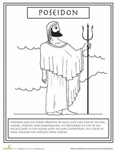 Get to know your Greek gods and goddesses with this series of Greek mythology coloring pages, complete with fun facts about each god. Poseidon Greek Mythology, Greek And Roman Mythology, Greek Gods And Goddesses, Celtic Mythology, Greek Pantheon, Roman Gods, Cool Coloring Pages, Greek Art, Ancient Greece