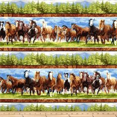Band of Horses Horses Blue from @fabricdotcom Designed by Bob ... : horse material for quilts - Adamdwight.com