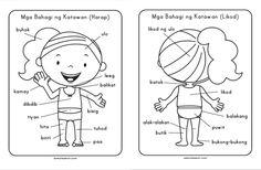 Mga Bahagi ng Katawan (NEW) - Samut-samot 1st Grade Worksheets, Reading Worksheets, Body Parts Preschool, Poster Background Design, Kindergarten Readiness, Tagalog, Reading Passages, Reading Material, Filipino