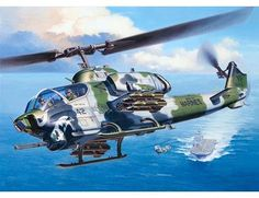 The Revell US Bell AH-1W SuperCobra in 1/48 scale from the plastic aircraft model kits range accurately recreates the real life US attack helicopter.  This Revell aircraft model requires paint and glue to complete. This is just one of many great kits from the Revell plastic models range.