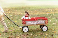 Here comes the bride wagon with adorable wedding kid! Photo captured by Green Tea Photography