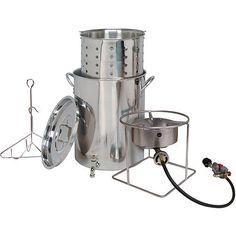 30 Qt Stainless Steel Outdoor Fryer Cooker Pot Spigot Basket Heavy Duty Safety #KingKooker