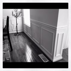 Dining Room Wainscoting nail on shadow boxes under chair rail