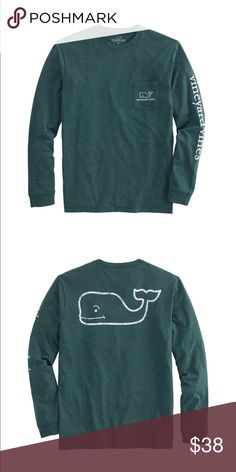 Long-Sleeve Vintage Whale Heather Pocket T-Shirt New with tags Vineyard Vines VV Long-Sleeve Vintage Whale Heather Pocket T-Shirt. Deja vu all over again! Remember that favorite tee you just couldn't wear enough? This soft, comfortable cotton men's t-shirt brings back that feeling. Color: Charleston Green Fabrics: · 100% cotton  Features: · Garment-washed for softness · Rib trim on collar and cuffs · Heat transfer label · Imported  · Machine wash * this color sold out in stores Comes with…