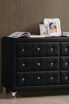 Stella Crystal Tufted Black Upholstered Modern Dresser on @HauteLook