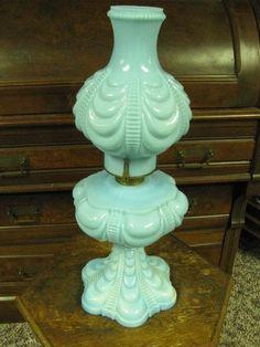 Rare Coolidge Drape Blue Milk Glass Oil/Kerosene Lamp in Collectibles, Lamps, Lighting, Lamps: Non-Electric | eBay