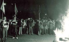 1976 University of Minnesota Homecoming bonfire.