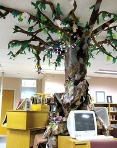 University Park Elementary Library - the paper mache' tree that used to be in the middle of the computers all around