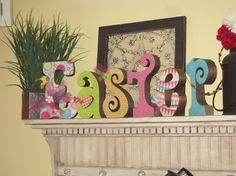 Easter Letters Egg Bunny Glitter Decoupage by allysatticcrafts, $35.00