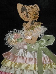 Vtg Ribbon Lace Paper Doll Southern Belle Picture Art Deco Frame Shabby Antique | eBay