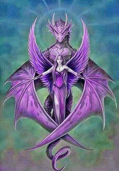Diamond Painting Girl and the Purple Dragon Kit Dark Fantasy Art, Fantasy Kunst, Fantasy Artwork, Beautiful Dragon, Dragon Artwork, Mythical Creatures Art, Dragon Pictures, Dragon Pics, Koi Dragon