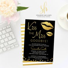 Impress the guests even before the bachelorette party! Gather the girls in style and set the tone for the party with these charming 'Kiss the miss goodbye' invitation cards! #printable #bachelorette #invitations #bacheloretteparty #bachelorettenight #bacheloretteinvitations #bachelorettepartyinvitations #bachelorettestationery #SHdesigns