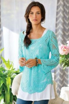 Heirloom Pullover - Embroidered Mesh Pullover, 3/4 Sleeve Pullover Top | Soft Surroundings