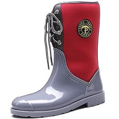 TONGPU Women's Mid Claf Rain Boots Patchwork Outdoor Rain Footwear Our company is specialized in Rain boots,our shoes exported to countries all over the world. Rain And Snow Boots, Rubber Rain Boots, Footwear, Red, Outdoor, Accessories, Shoes, Women, Fashion