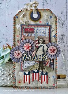 Hi all and welcome to another week on the Simon Says Stamp Monday Challenge Thank you for joining us for the … Atc Cards, Card Tags, Gift Tags, July Crafts, Holiday Crafts, Holiday Fun, Fourth Of July, Handmade Tags, Tags