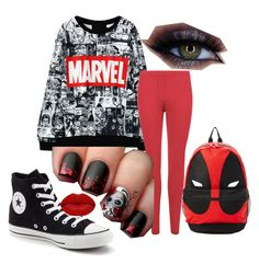 Marvel by chickletsemail on Polyvore featuring polyvore fashion style WearAll Converse Marvel Winky Lux clothing