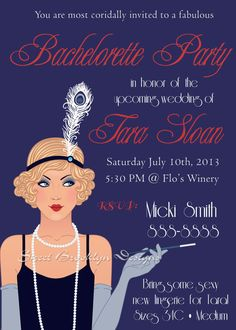 20's Themed bachelorette Party Invitations