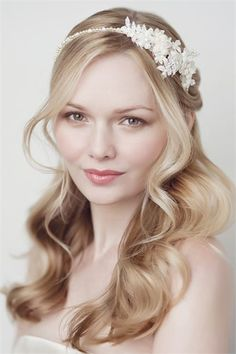 big waves, soft romantic hairstyle, bridal updo,