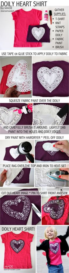 Doily Heart Shirt tutorial-- make it mickey shaped and do it right on the shirt with fabric paint -=no sew Shirt Tutorial, Diy Vetement, Heart Shirt, Diy Shirt, Diy Clothing, Fabric Painting, Diy Fashion, Fabric Crafts, Sewing Projects