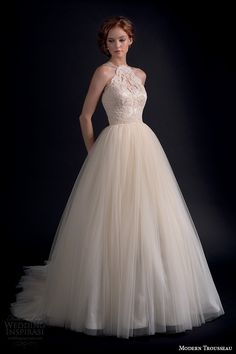 modern trousseau fall 2016 bridal gowns beautiful a line wedding ball gown dress halter neck lace embroidered bodice tulle skirt style adore