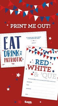 FREE Printable | Patriotic Invite | 4th of July Invite | Fourth of July Invite | Red, White & Blue | Downloadable
