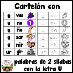 Leendo palabras con dos silabas. la letra u. las vocales, A E I O U , cartelon para emicar y leer con estudiantes