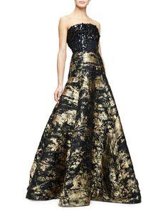 Strapless+Embellished-Bodice+Metallic+Gown,+Gold/Black+by+Oscar+de+la+Renta+at+Neiman+Marcus.