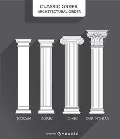 Greek Columns Styles: Toscan, Doric, Ionic and Corinthian Rome Architecture, Architecture Concept Drawings, Classic Architecture, Architecture Student, Historical Architecture, Beautiful Architecture, Architecture Details, Shoe Store Design, Classic House Design