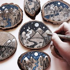 A series of Wood Cut Illustration done on natural wood, featuring landscapes. Mo… A series of Wood Cut Illustration done on natural wood, featuring landscapes. Mostly done with pen, ink, gouache and acrylics. Wood Slice Crafts, Wood Burning Crafts, Wood Burning Patterns, Wood Burning Art, Wood Crafts, Fun Crafts, Arts And Crafts, Wood Burning Projects, Nature Crafts