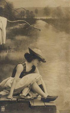 Fishing Girl!  Turn of the Century Postcard