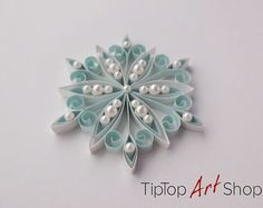 Paper Quilling Snowflake Ornament in White with a Touch of
