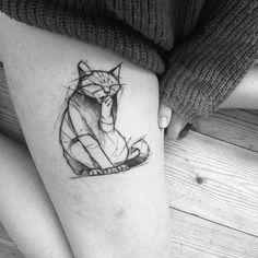 Geometric Tattoo – Sketch style cat tattoo by Kamil Mokot Soft Tattoo, Thin Tattoo, 4 Tattoo, Body Art Tattoos, Shape Tattoo, Tattoo Designs, Sketch Tattoo Design, Tattoo Sketches, Trendy Tattoos