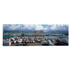 "East Urban Home Panoramic Containers and Cranes at a Harbor, Honolulu Harbor, Hawaii Photographic Print on Canvas Size: 16"" H x 48"" W x 0.75"" D"