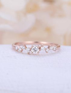 Diamond Cluster ring Twig engagement Ring Rose Gold Mini Floral Unique Wedding Band Women Bridal set Jewelry Multi Gift Promise Anniversary Description: -Natural Conflict Free Diamonds - comfortable band Natural diamond Carat- approx 0.21ct Shape - round Clarity - VS-SI Color -
