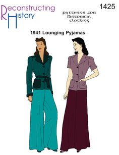 Buy our swell Lounging Pyjamas pattern and get that swell vintage style! Based on an original pattern from 1941, these lounging pyjamas are as smart as they are comfortable.  Why wear sweats around the house when you can lounge in style. Top closes with three buttons and an optional belt.  Pants are closed by a 7″ zipper and …