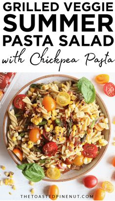 This Grilled Summer Veggie Pasta Salad is the perfect gluten free dish to bring to your next potluck or summer barbecue! It's packed with flavor and the lemon basil dressing is to die for! Clean Eating Dinner, Clean Eating Recipes, Healthy Dinner Recipes, Healthy Salads, Vegetarian Recipes, Healthy Eating, Vegan Meals, Healthy Food, Healthy Baked Chicken