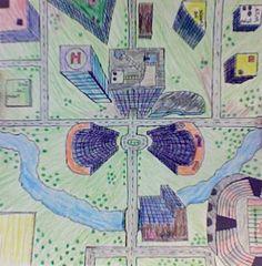 city aerial view art lesson