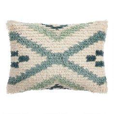 Sage And Ivory Moroccan Shag Indoor Outdoor Lumbar Pillow - v1 Blue Pillows, Throw Cushions, Toss Pillows, Outdoor Throw Pillows, Unique Living Room Furniture, World Market Store, Lumbar Throw Pillow, Family Room Decorating, Moroccan